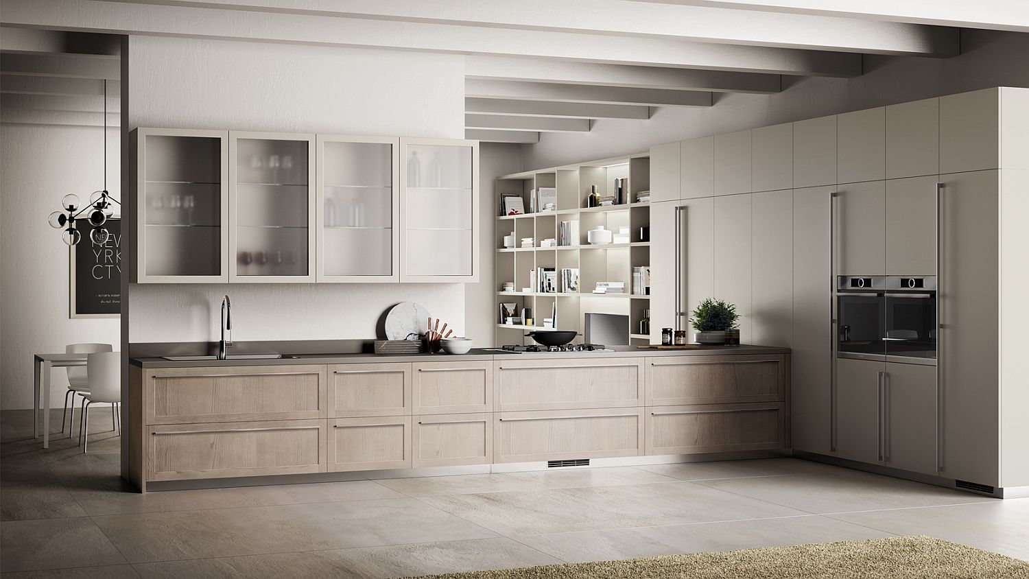 Lovely wall-mounted units with cool wooden cabinets in the kitchen
