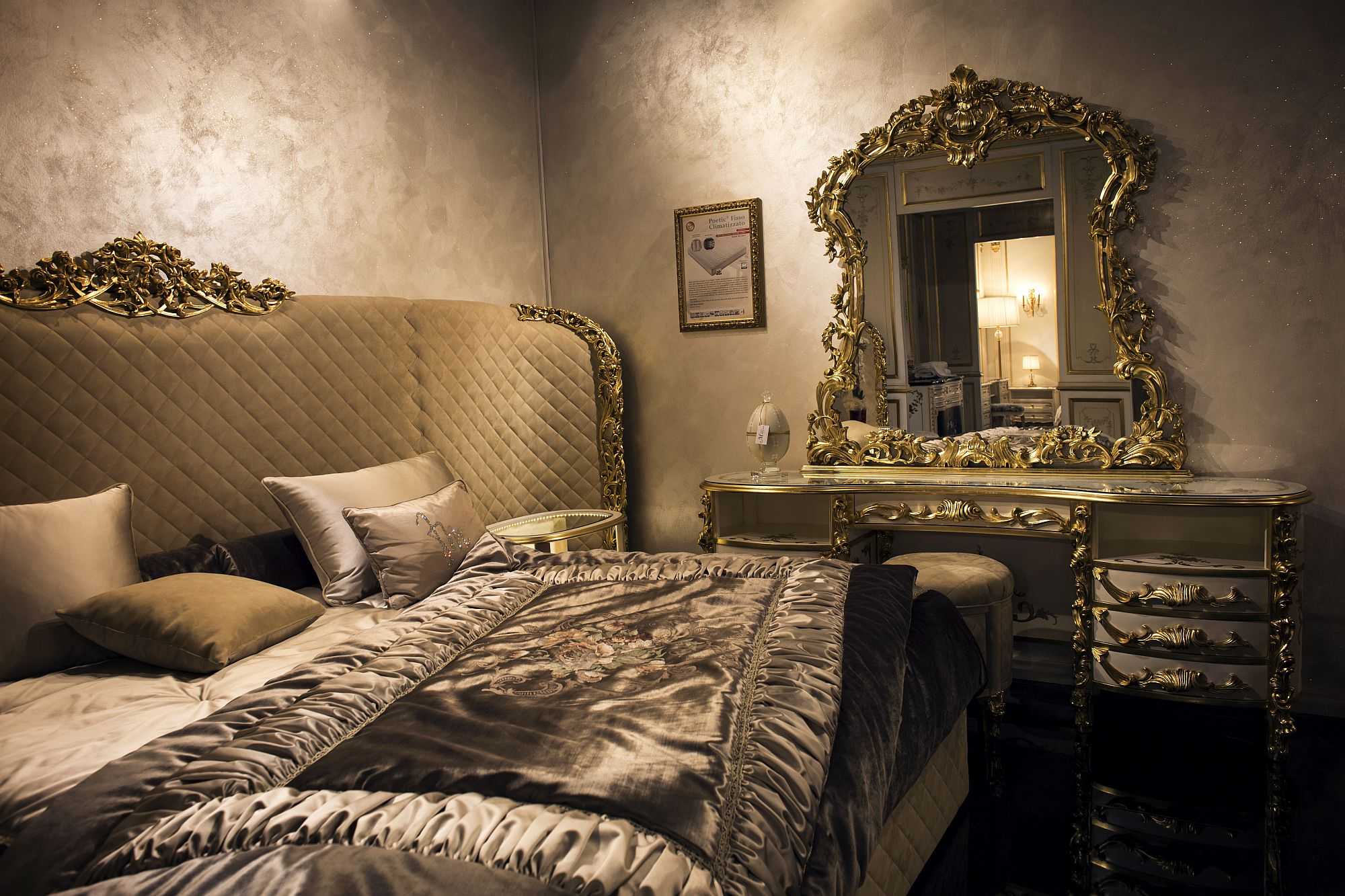 Luxurious bedroom in gold and plenty of textural contrast
