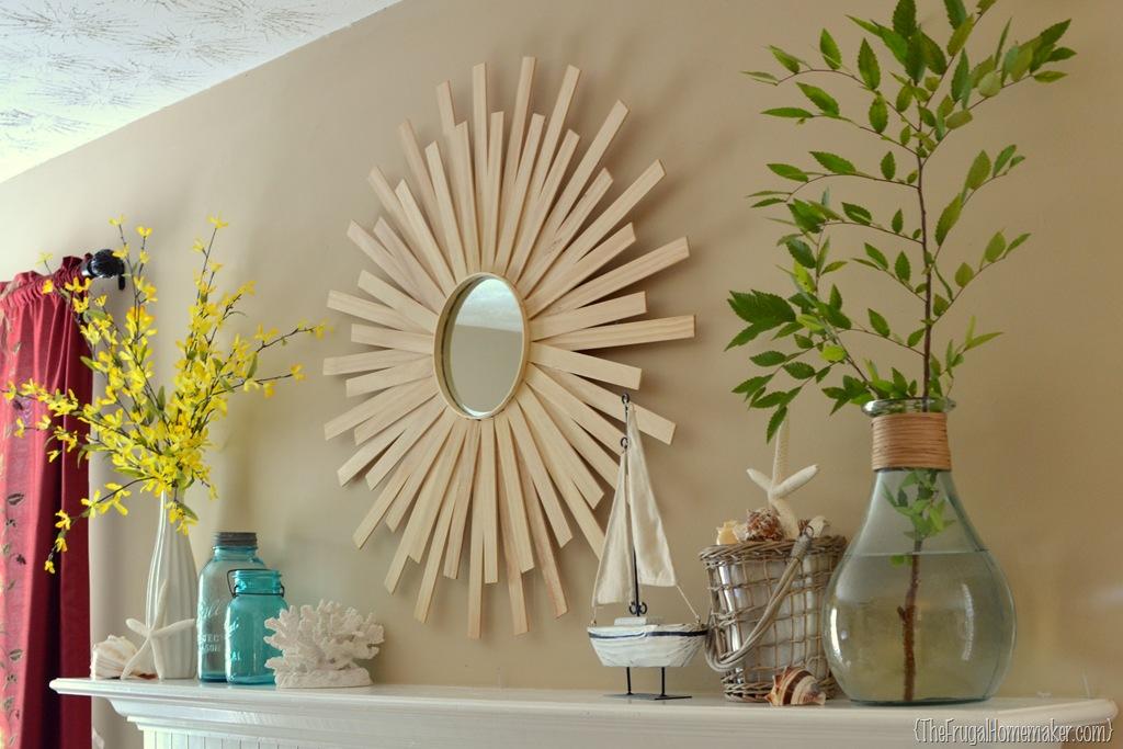 Minimalist light wooden sunburst mirror