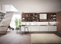 Modern-kitchen-with-breakfast-bench-and-a-lovely-wooden-backsplash-217x155