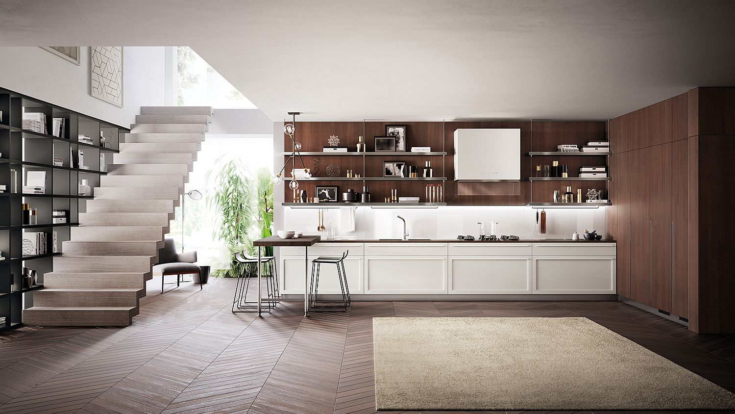Modern-kitchen-with-breakfast-bench-and-a-lovely-wooden-backsplash