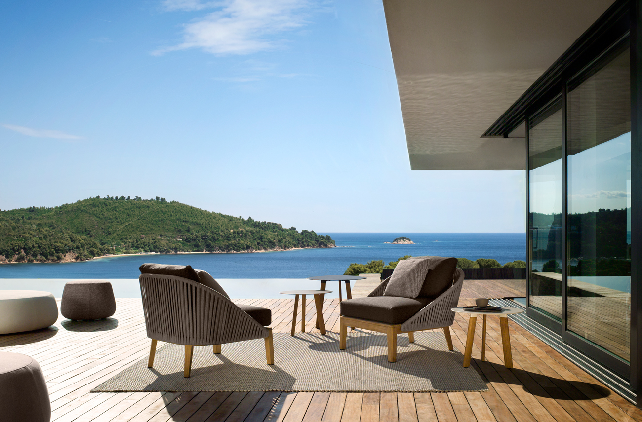 Modern outdoor armchairs and club chairs from Tribu