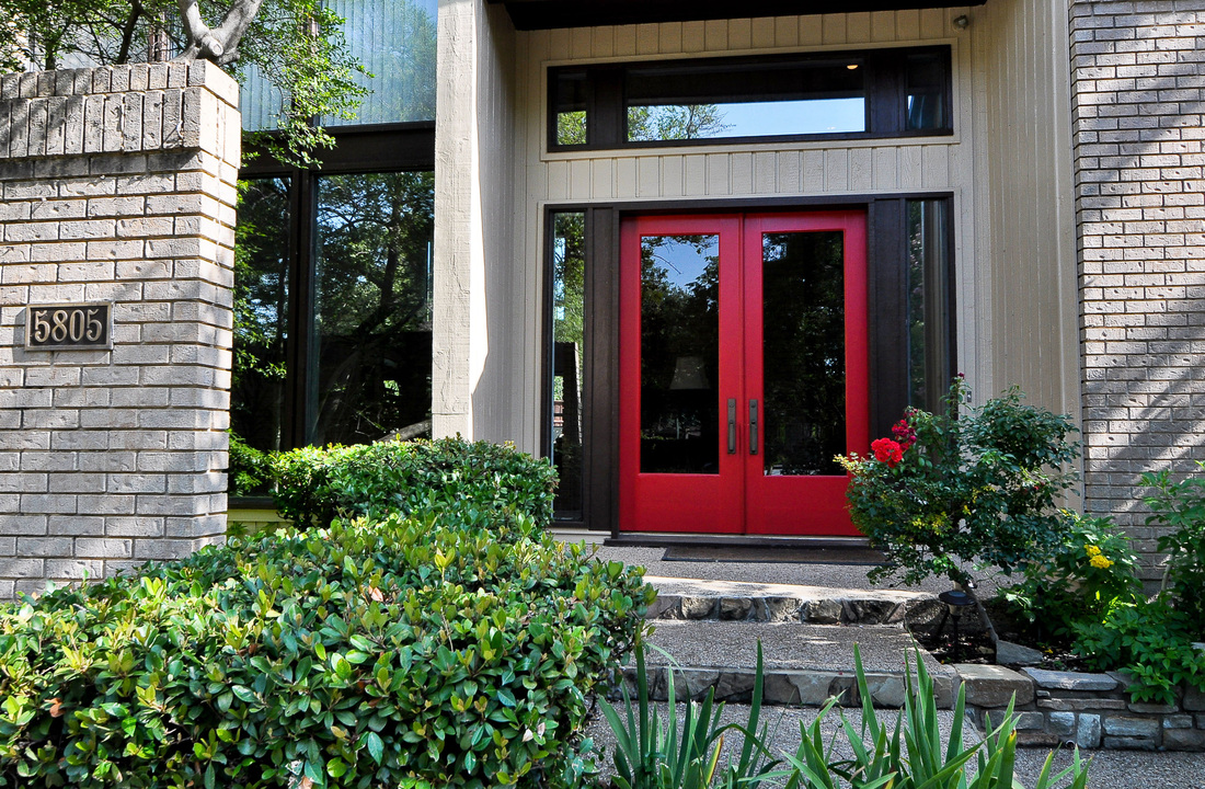 Modern red front door images for Modern french doors exterior