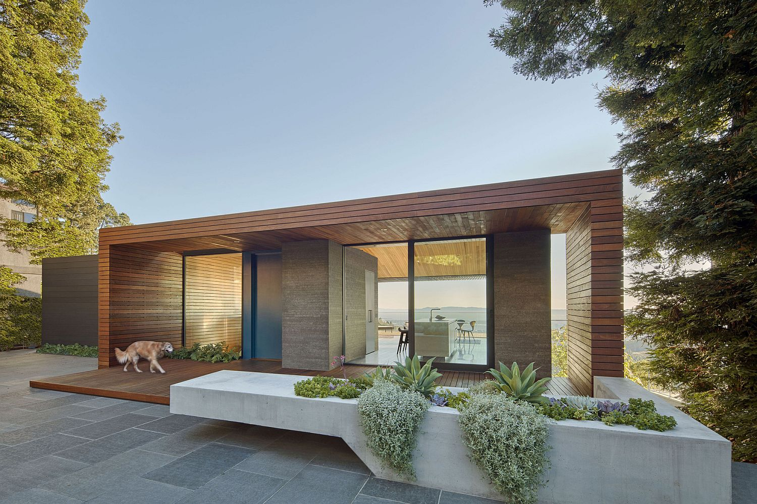 Modern residence in Oakland with large front yard