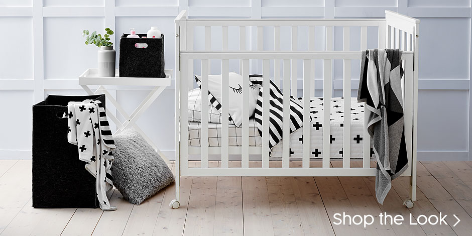 Modest and consistent monochrome nursery