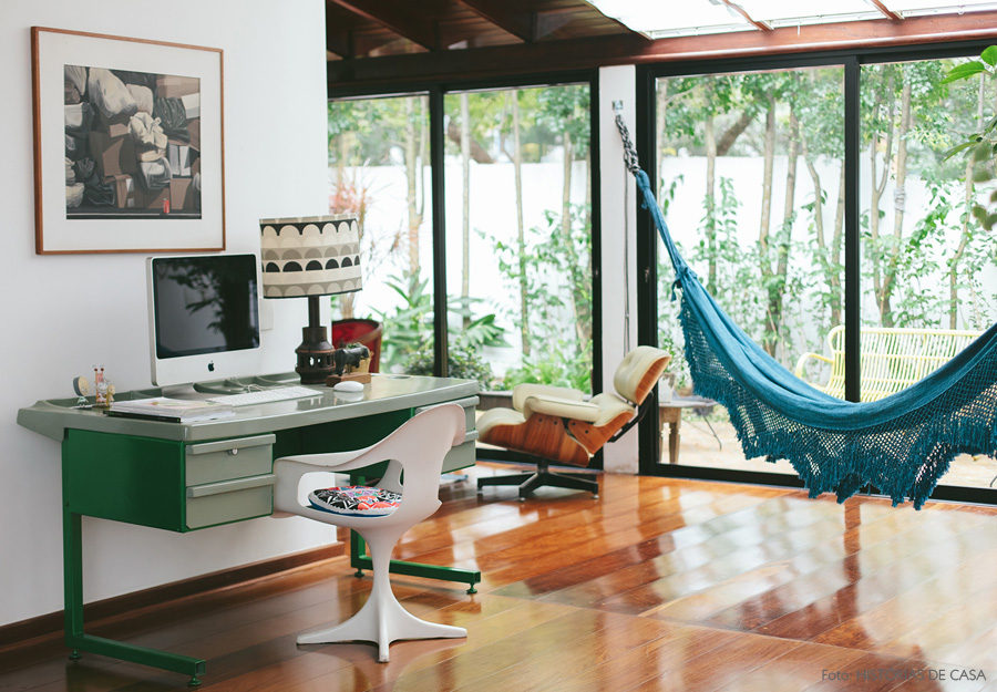 Mono-colored bohemian hammock in a home office