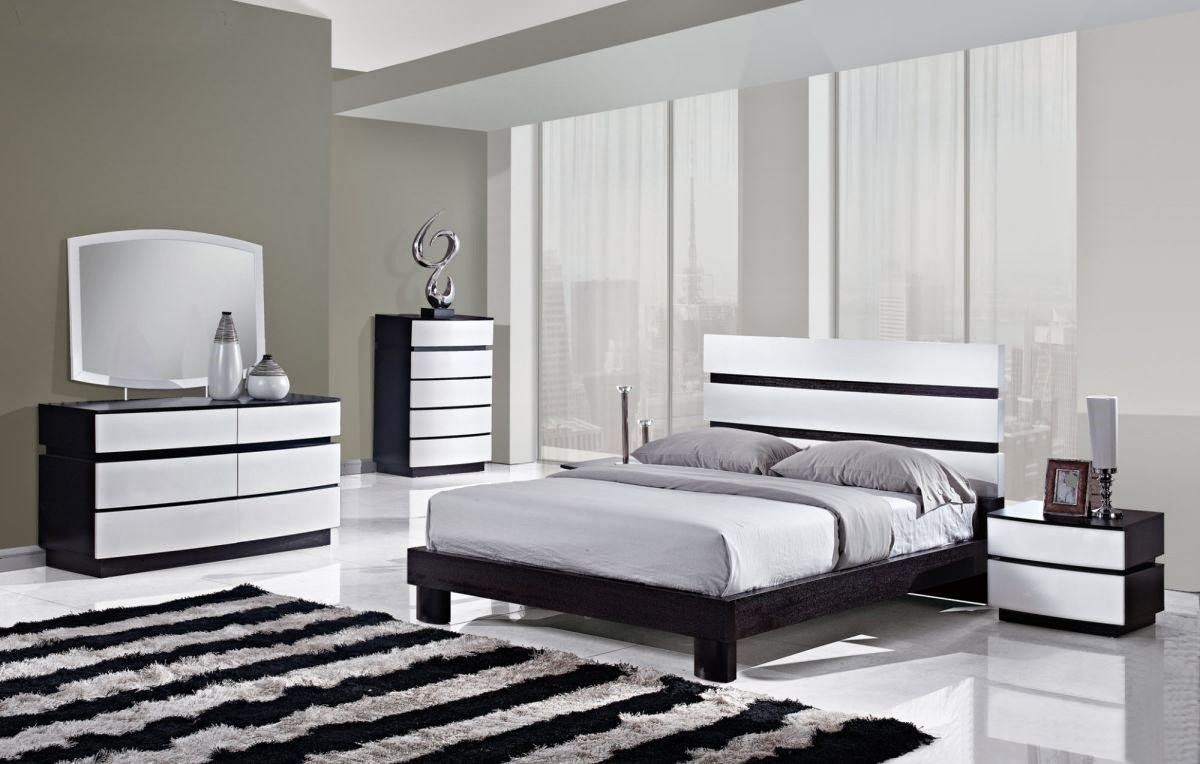Monochrome striped rug gives value to the modern bedroom