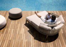 Mood Lounge bed on the pool deck 217x155 In the Right Mood: Weather Resistant Outdoor Décor in Teak and Handwoven Tricord