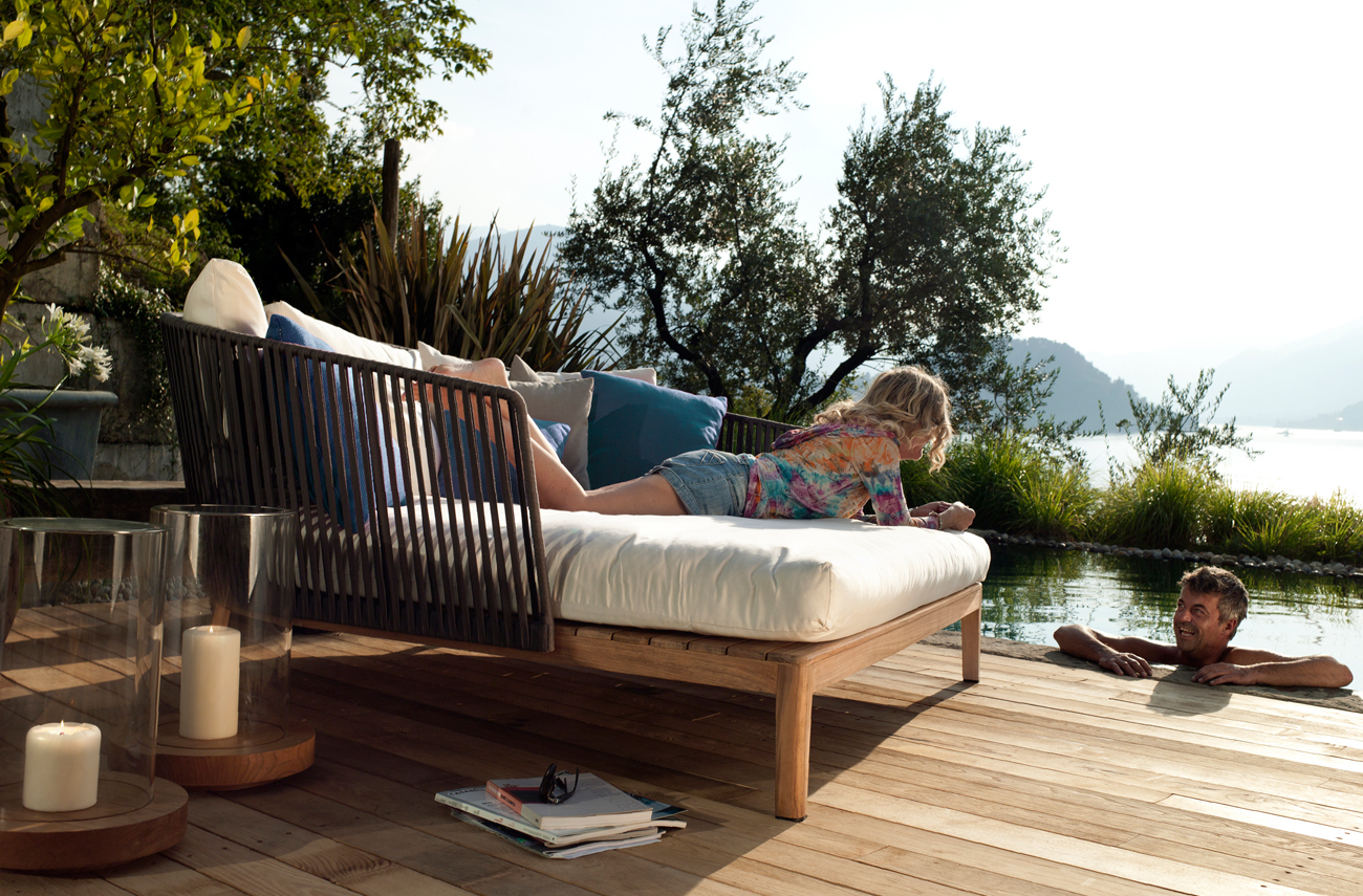 Mood Lounger next to the pool offers a comfy way to relax