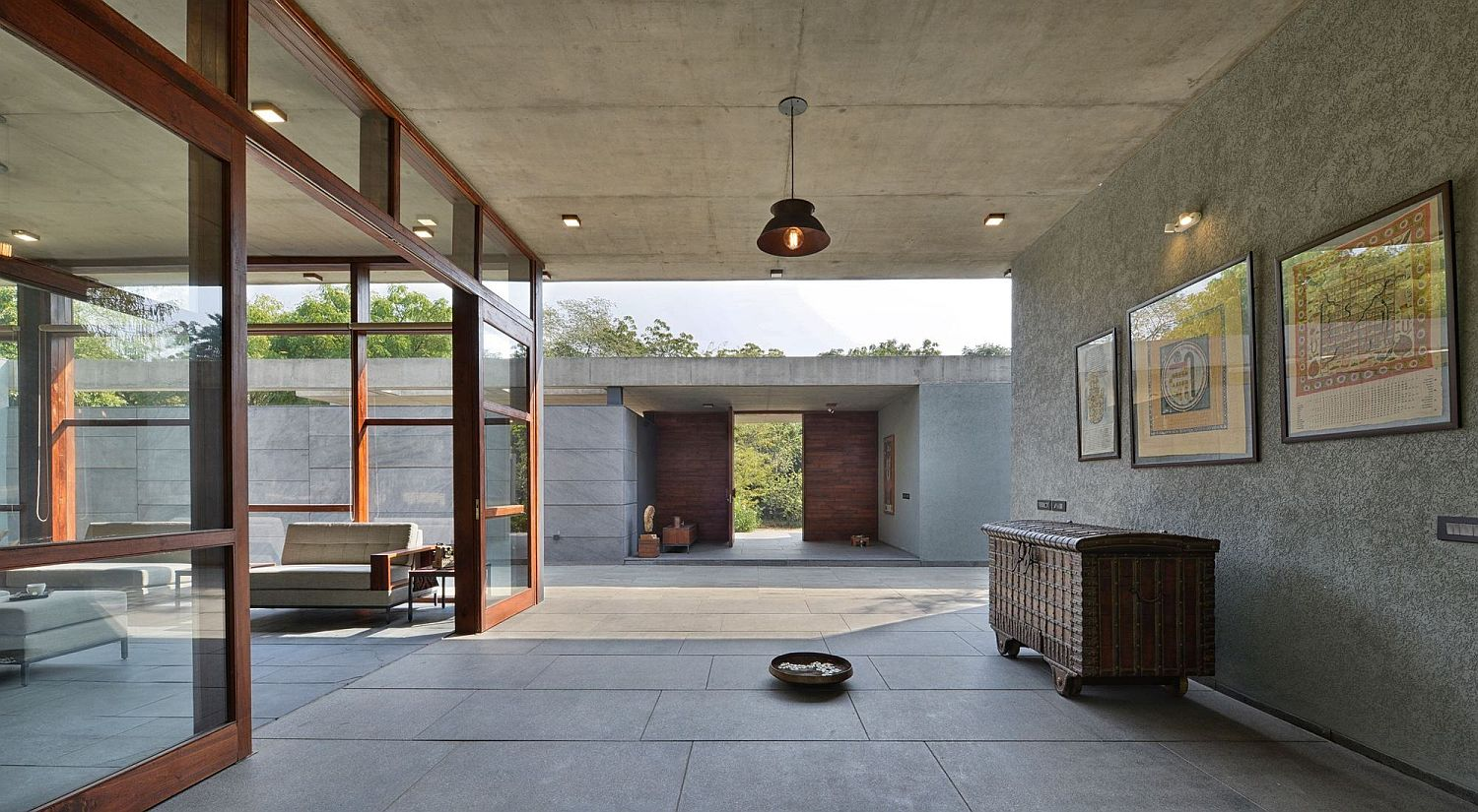 Naturally sourced stone and local materials create a relaxing guest house