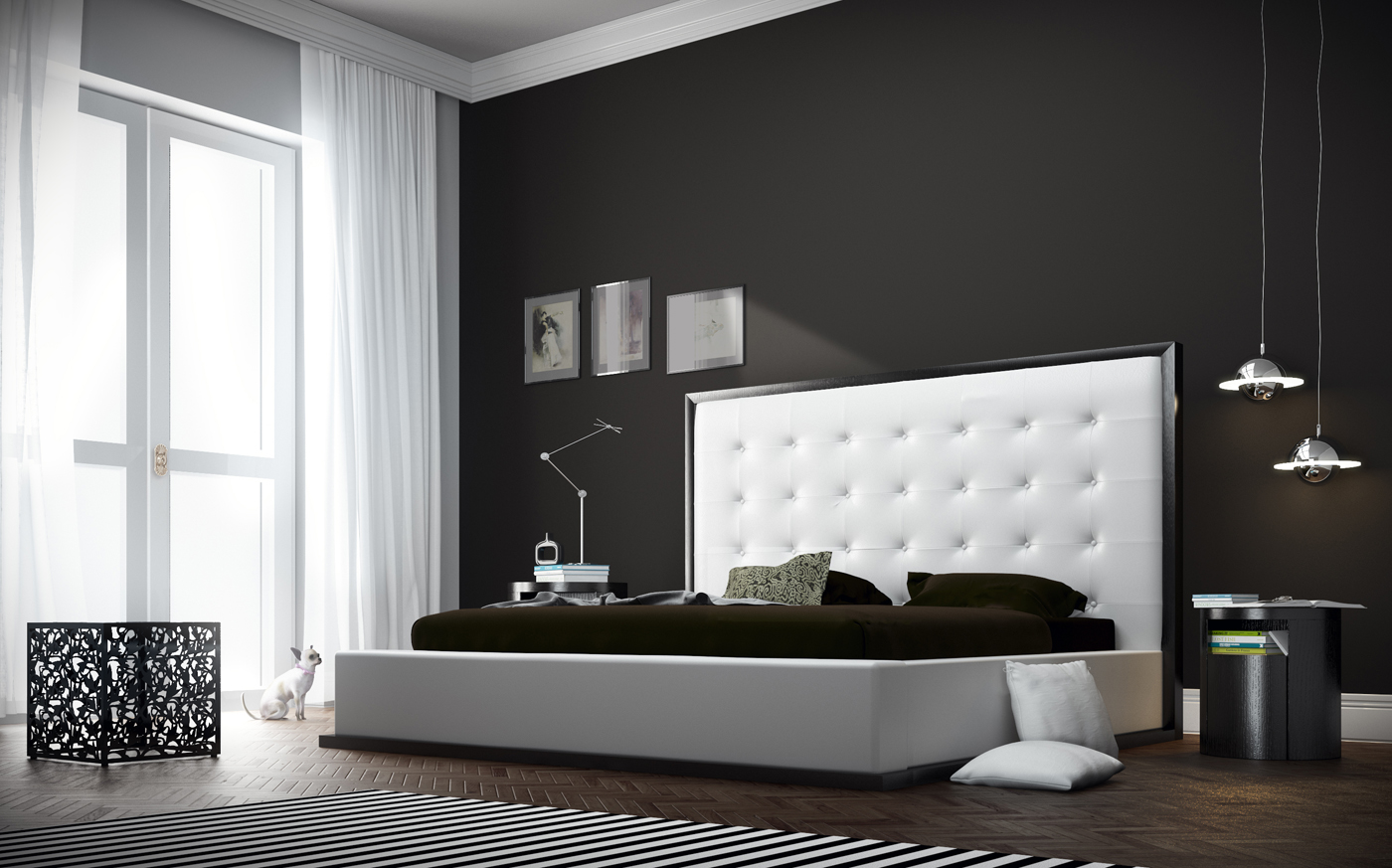 Noticeable striped black and white rug balances the dark room