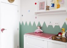 Nursery-in-white-with-colorful-wall-decal-217x155