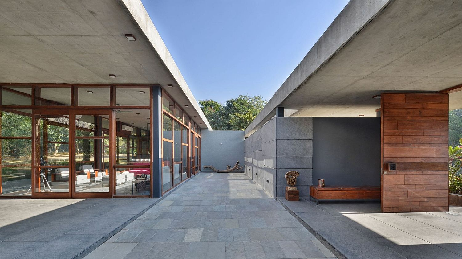 Open, Pavilion style House by the Trees in India