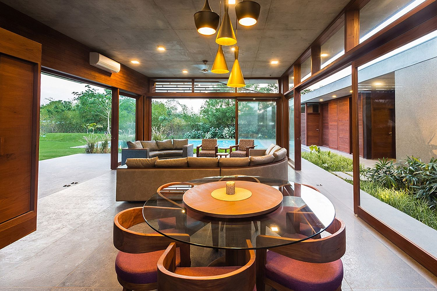 Open pavilion style living room of the Ahmedabad retreat
