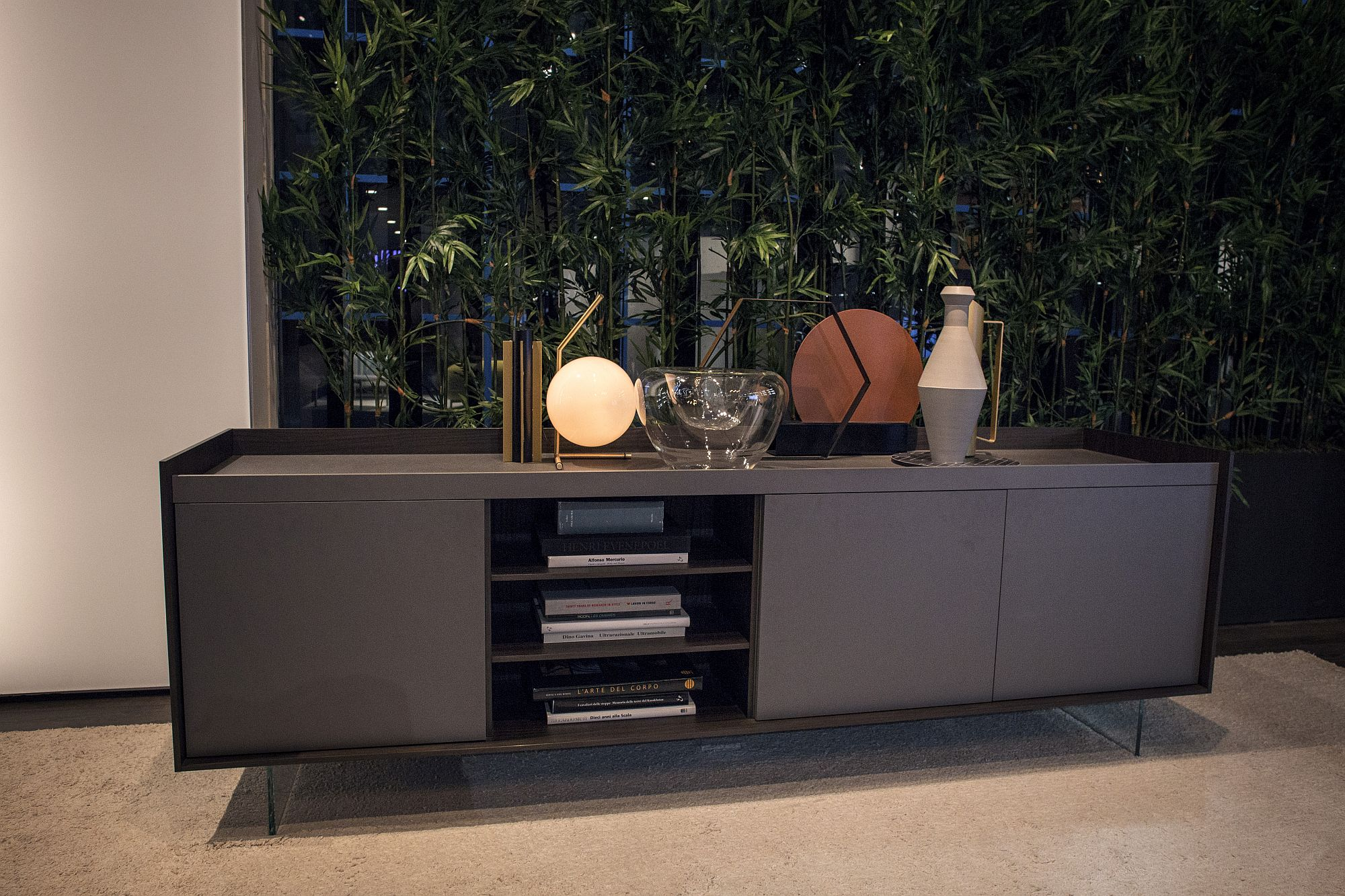 Open shelves coupled with closed cabinets for a smart, modern sideboard