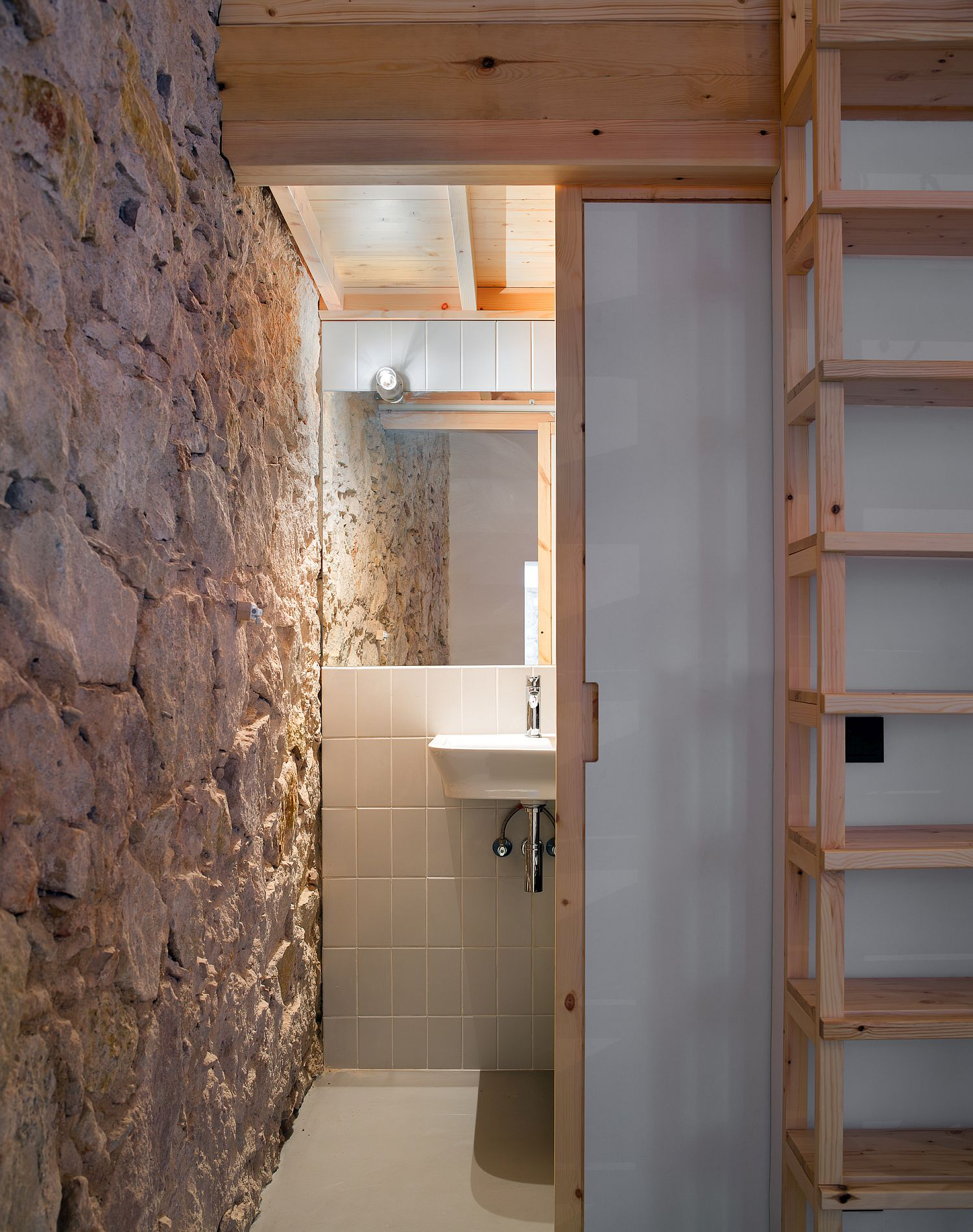 Original stone and plaster walls of the apartment are preserved carefully