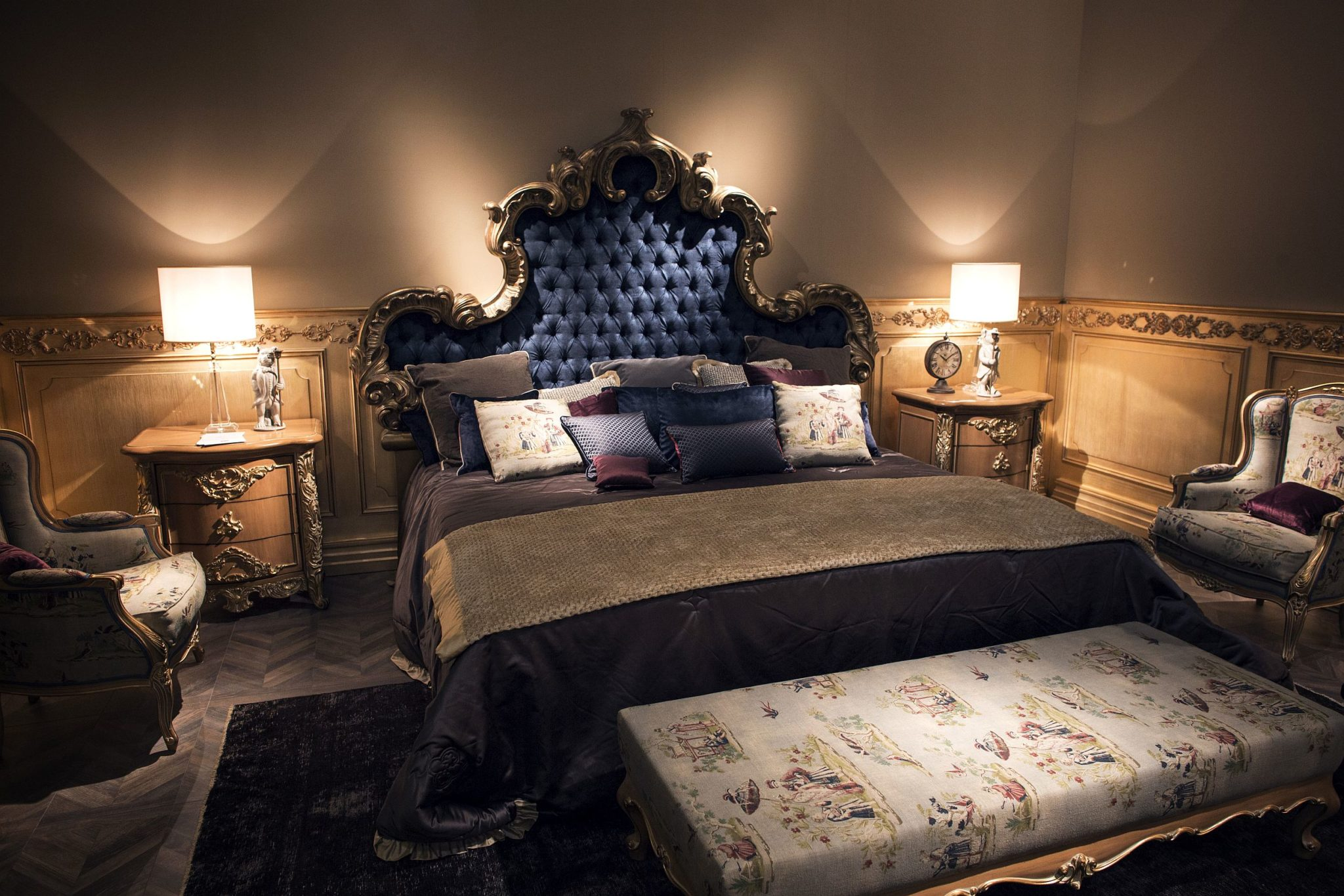 Ornate-tufted-headboard-with-gold-fretwork-brings-classic-charm-to-this-bedroom-collection-from-Silik