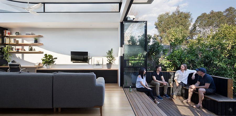 Outdoor hangout connected to the living space inside