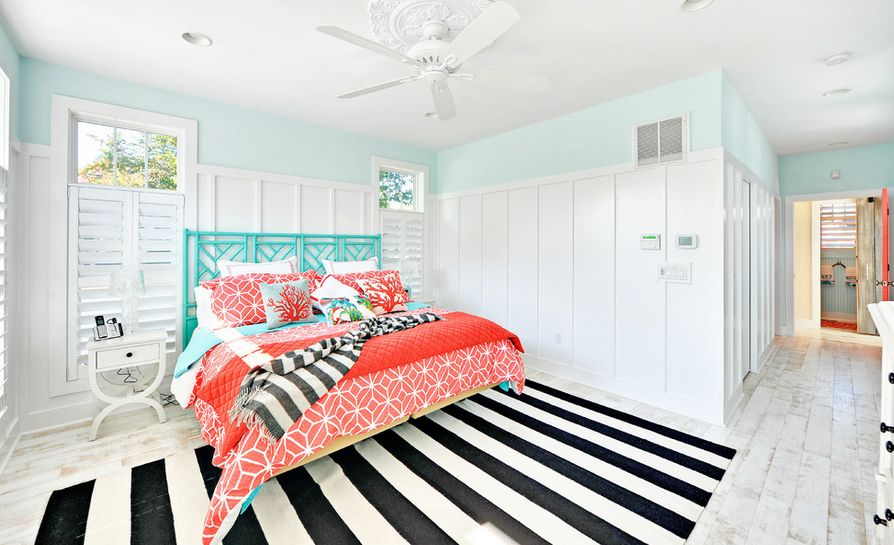 A Monochrome Rug Is Not Just For Neutral Bedrooms. Let This Pastel Bedroom  Be An Example Of How Beautifully It Can Compliment A Room In Turquoise  Hues, ...