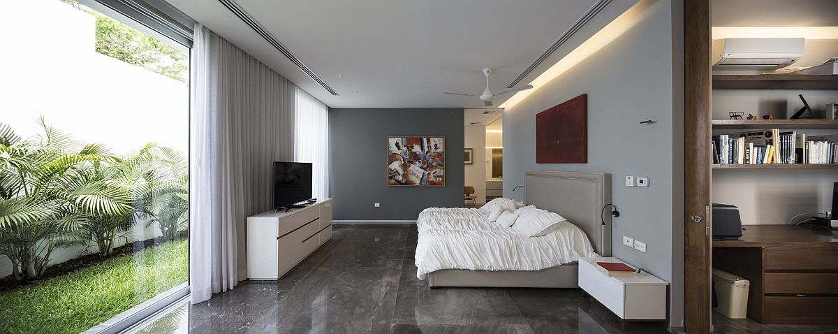 Polished contemporary bedroom in gray and white