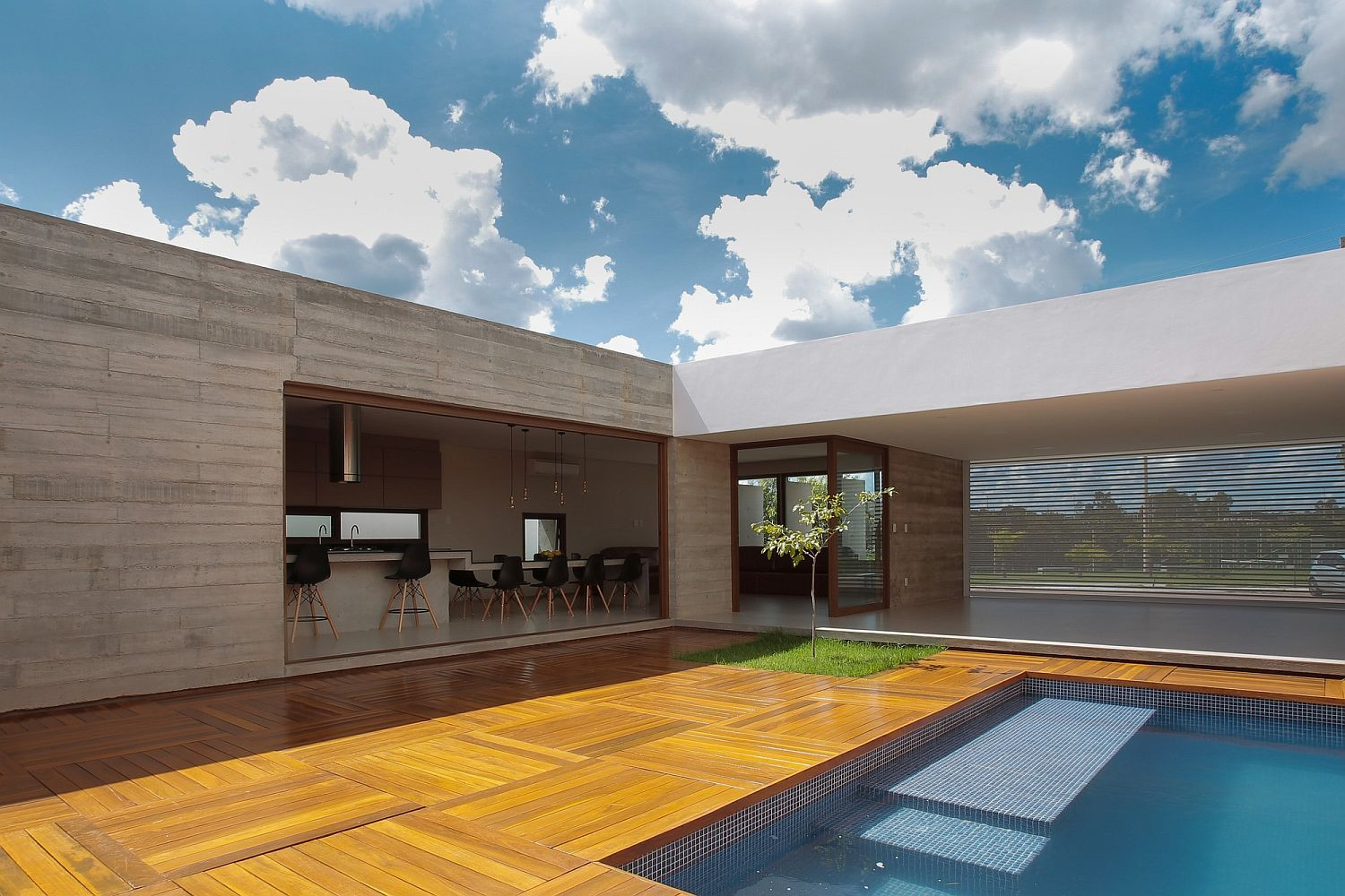 Stylish contemporary interiors pool area of the private brazilian residence