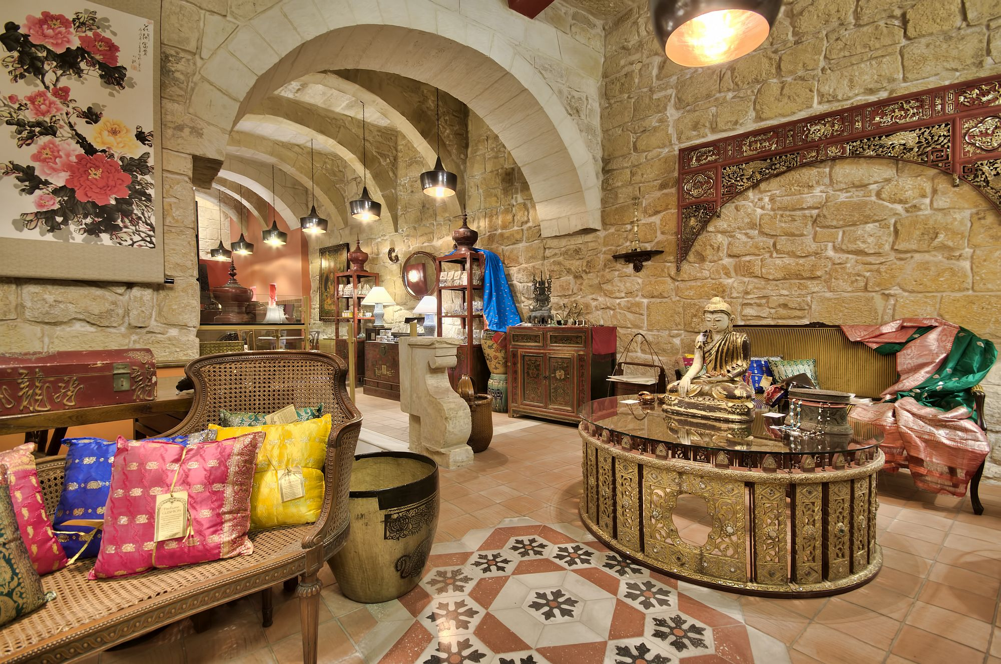 Reception at the Locanda La Gelsomina combines old world Maltese charm with art collection from far east
