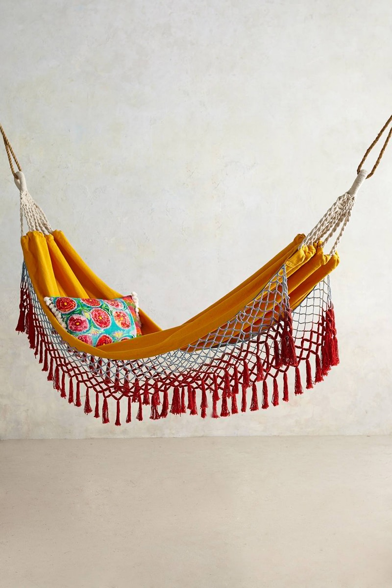 Red and orange bohemian hammock