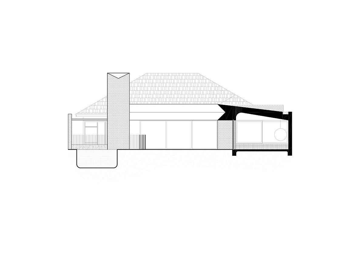 Sectional view of the revamped brick veneer house in Melbourne
