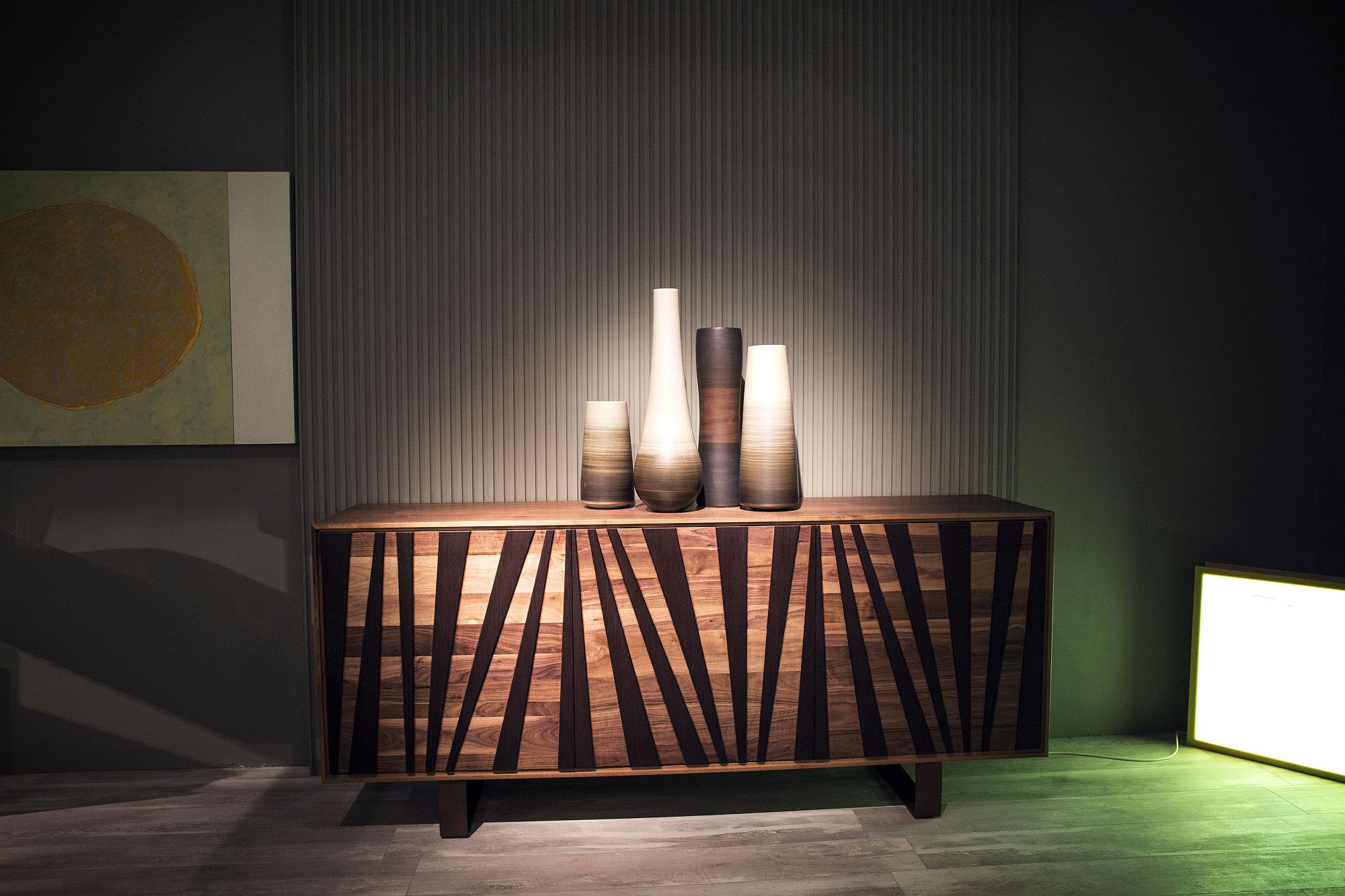 Simple stripes can also help bring intrigue to the sideboard