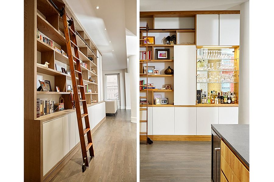 Smart-shelving-with-ladder-makes-use-of-vertical-space