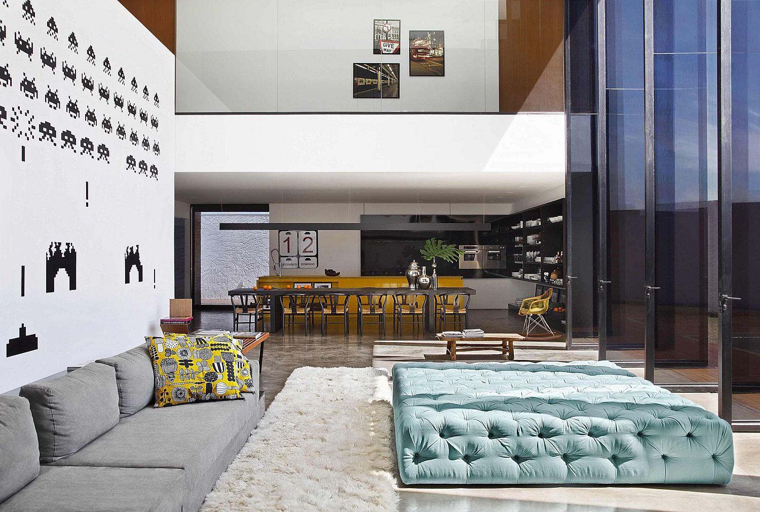 Spacious lower level living area with modular seating