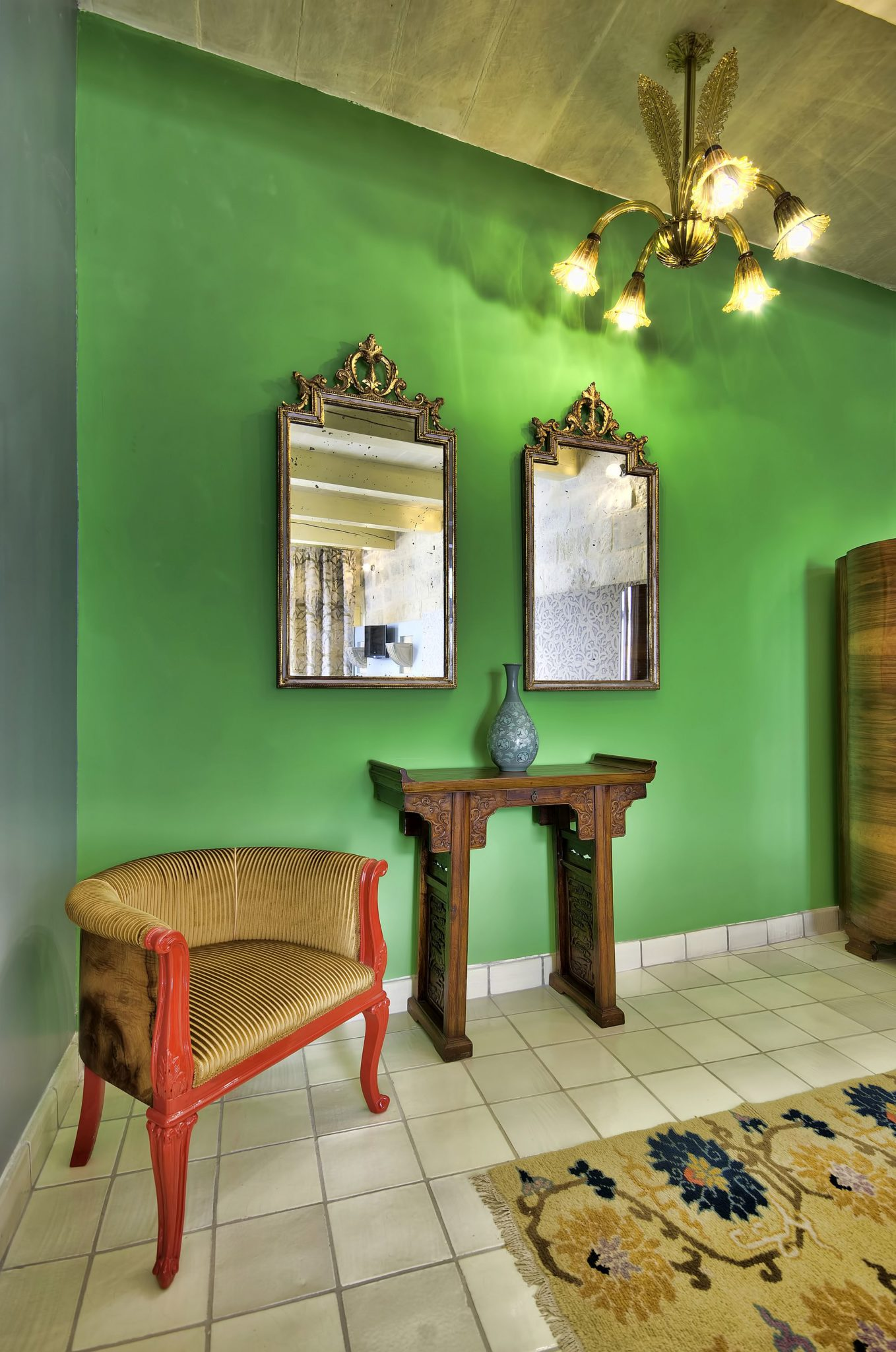 Splashes of bright green bring Mediterranean magic into the lovely hotel
