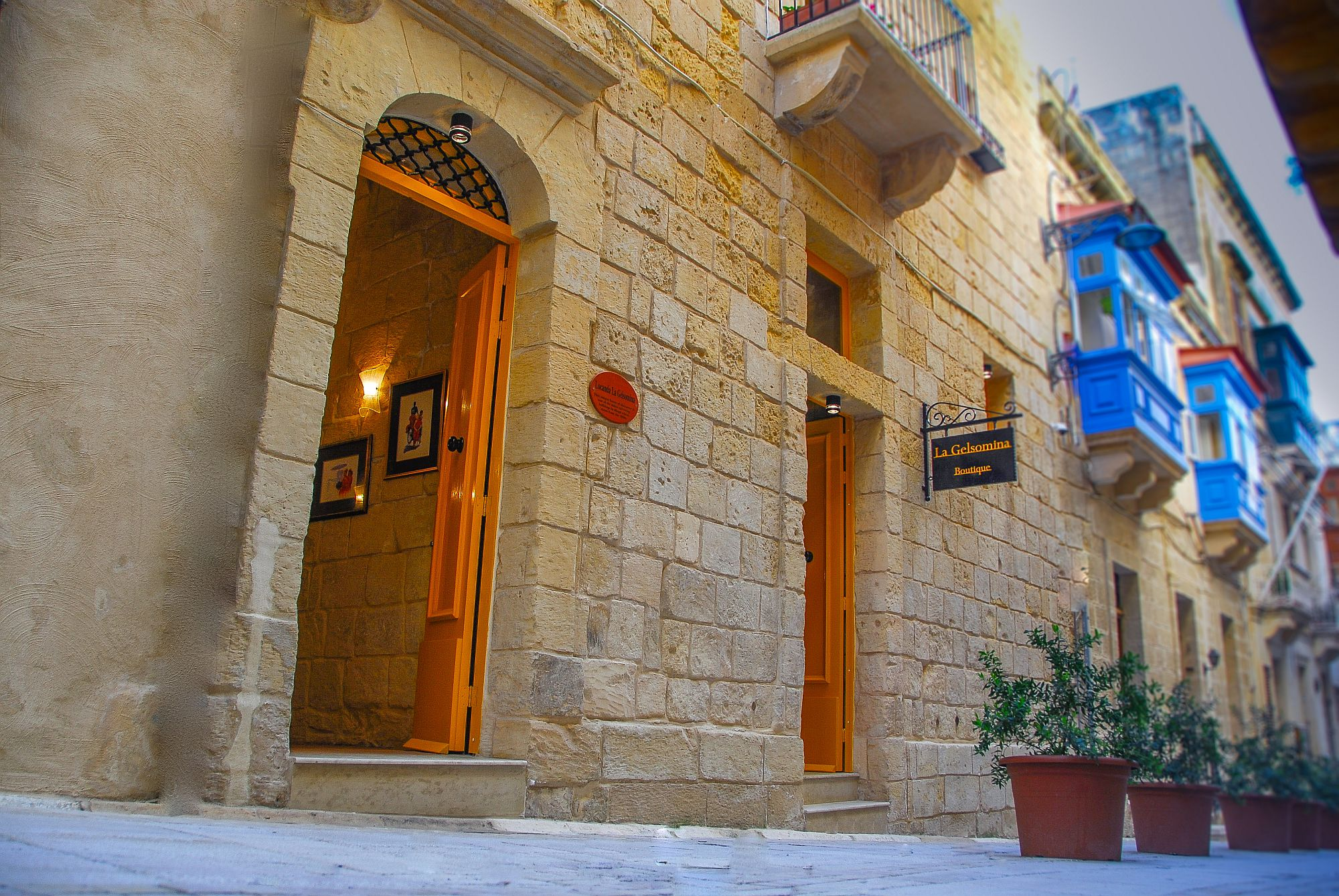 Street facade of the luxury boutique hotel in Malta has a timeless, classic appeal