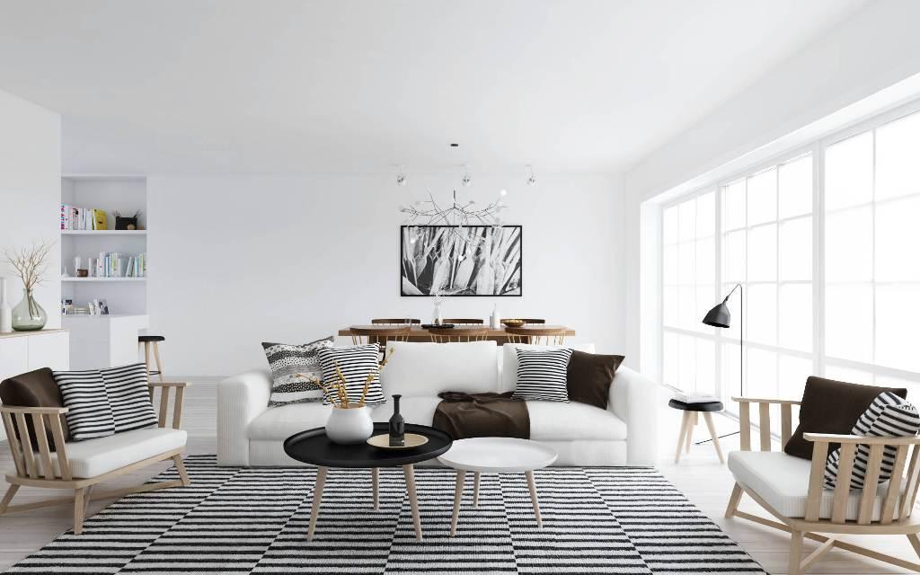 Striped monochrome rug contributes to a consitent interior