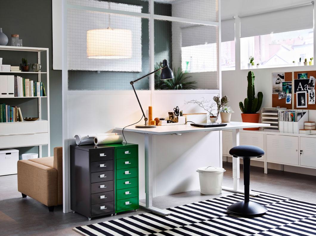 Striped monochrome rug creates a chic office corner