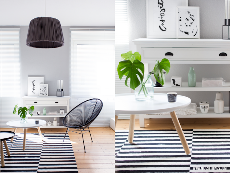 Striped monochrome rug in a minimalist living room