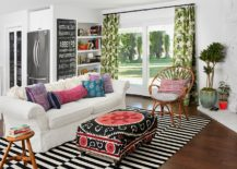 Striped-rug-brings-balance-to-a-colorful-living-room-217x155