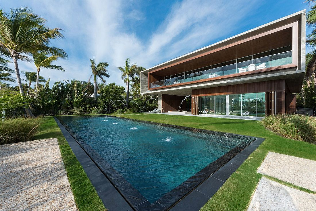 Luxury miami beach house with man made lagoon could be for Luxury pool area