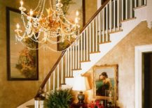 Textured-walls-and-a-brilliant-chandelier-for-the-Victorian-style-entry-217x155