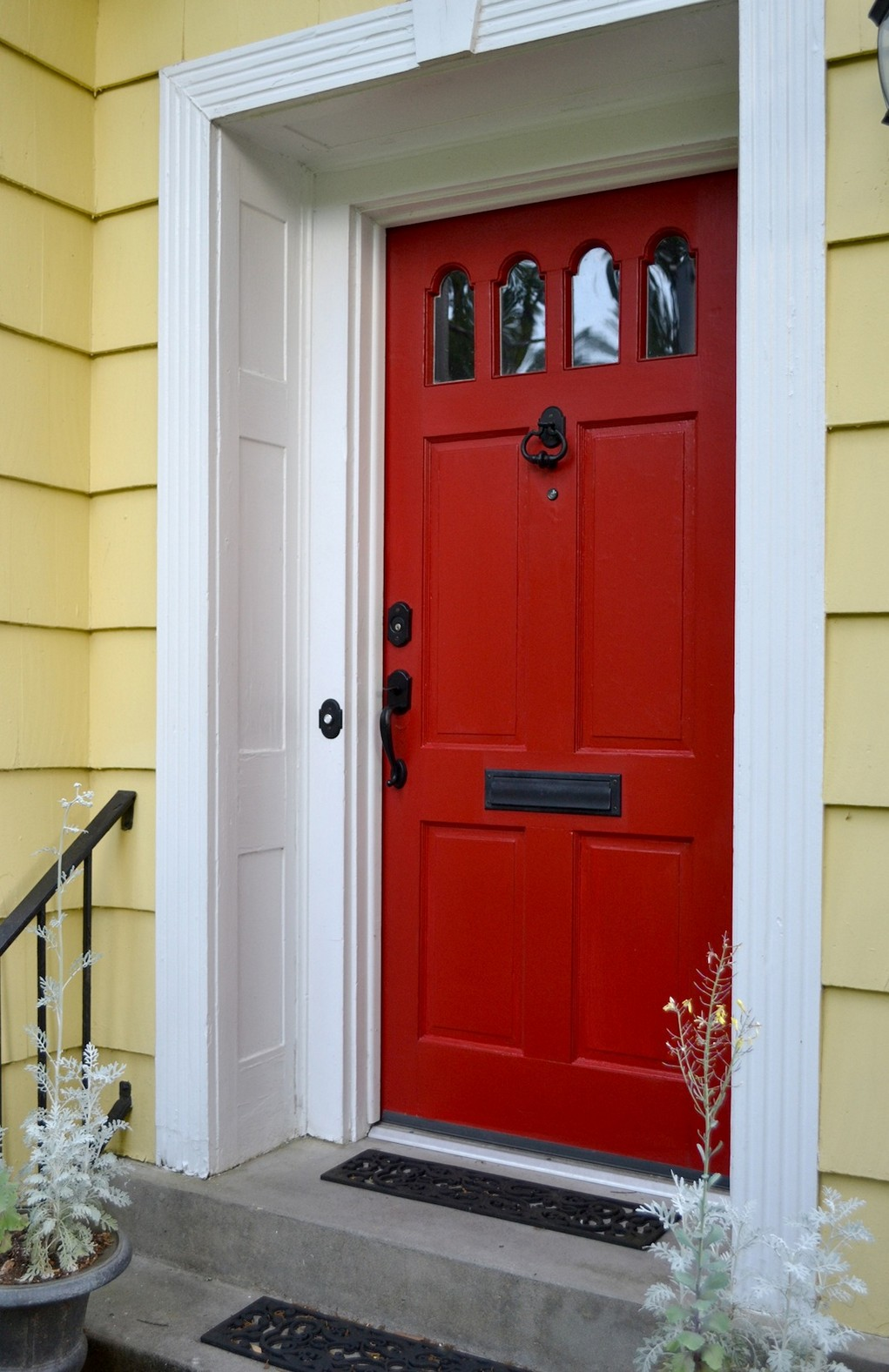 white front door yellow house. charming red color white front door yellow house