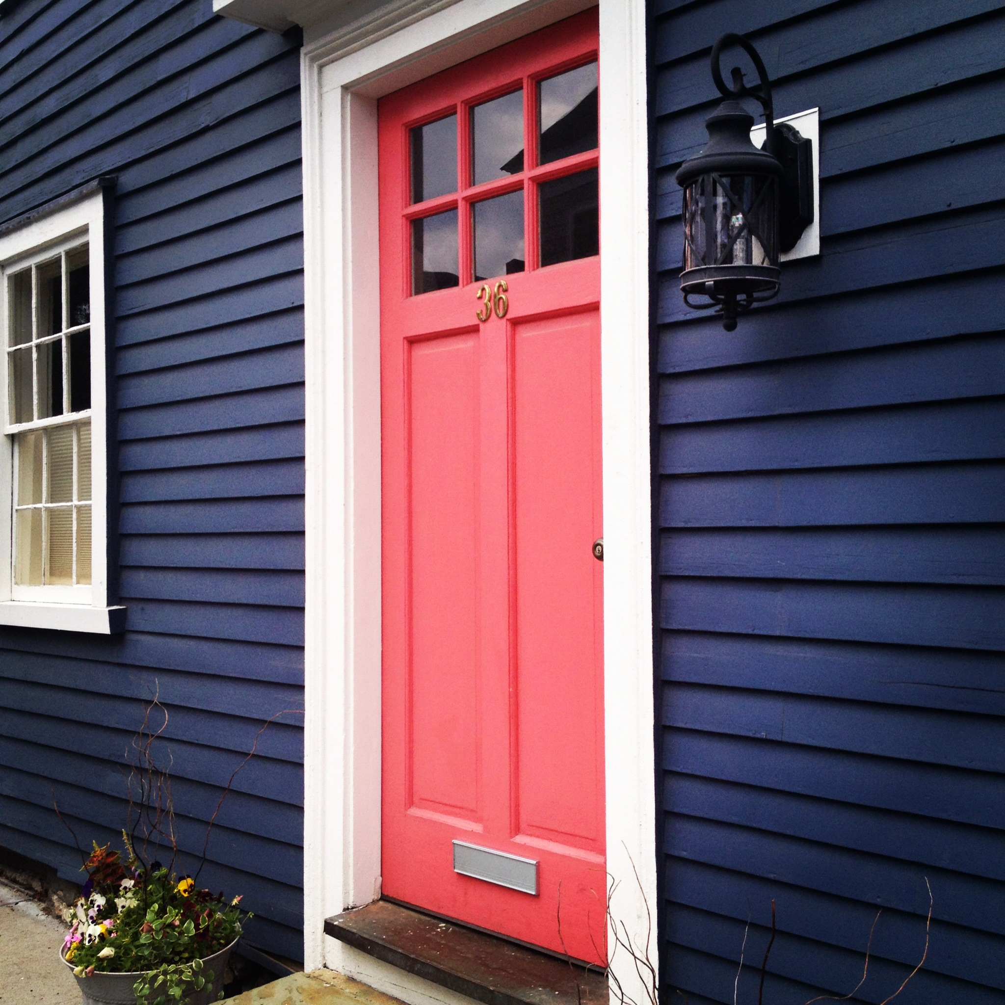 The contrast between the red door and the blue exterior