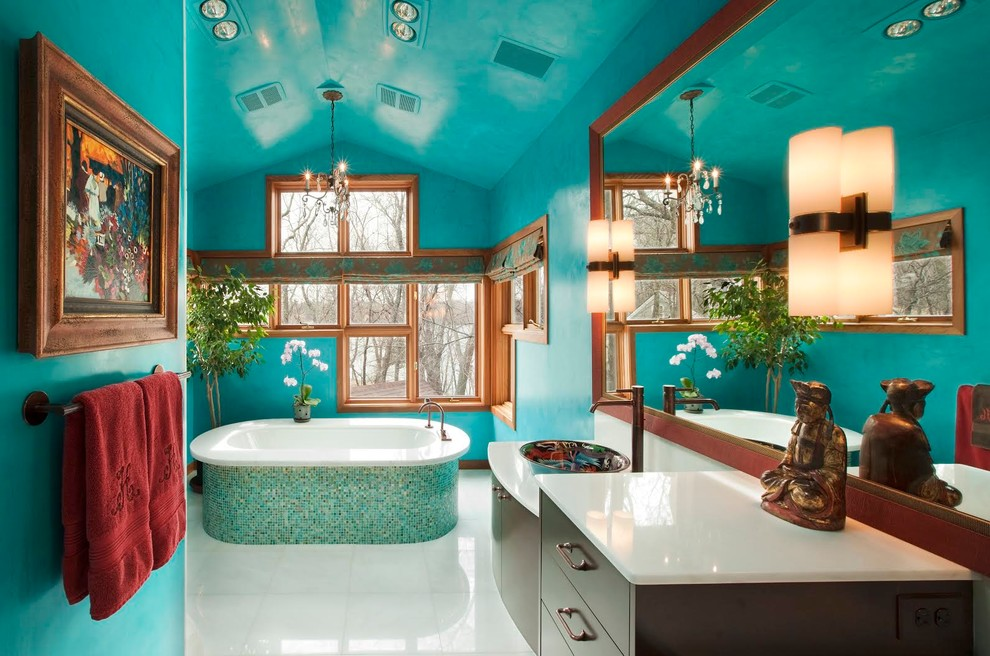Turquoise bathroom that feels like a home spa