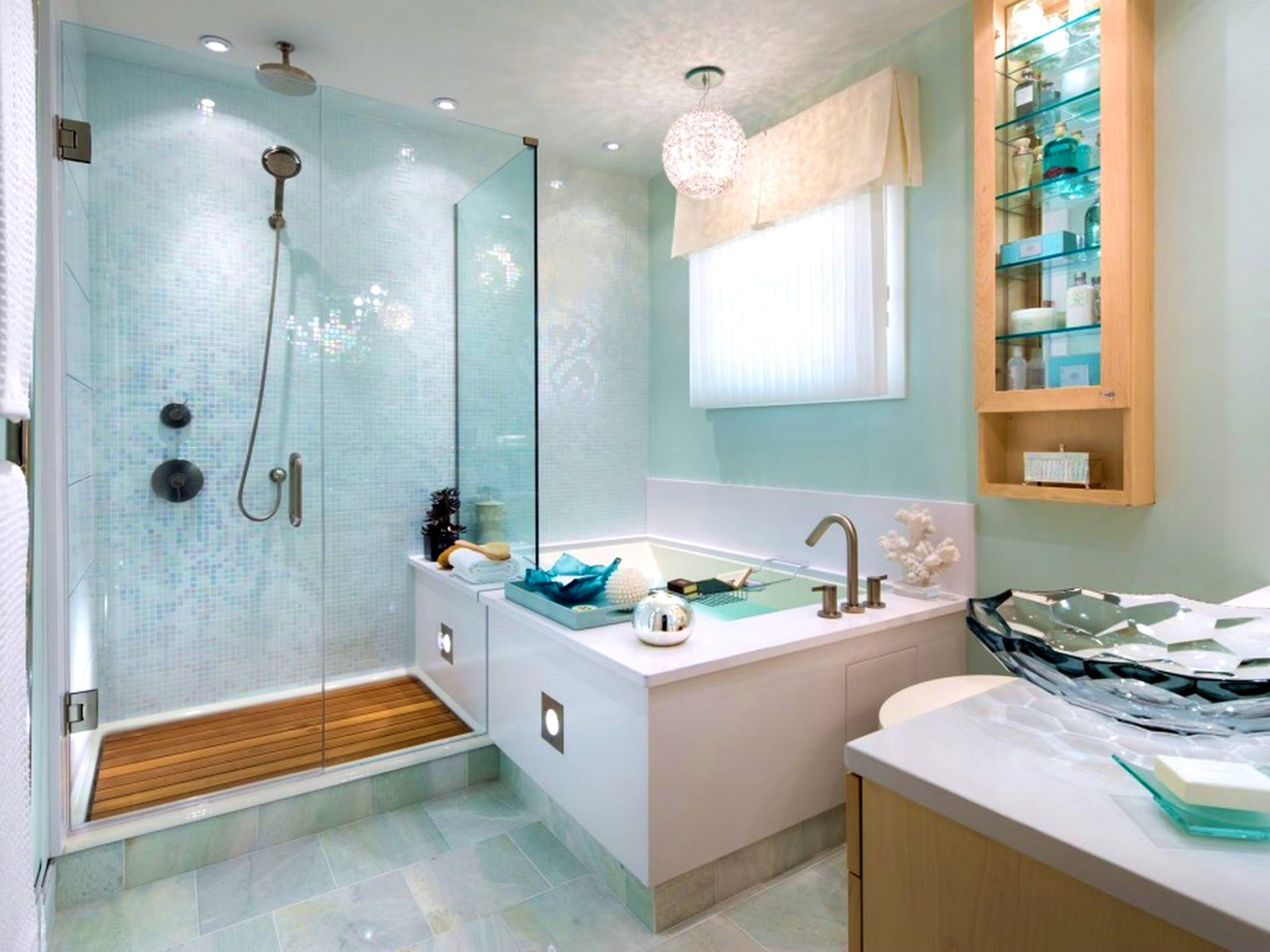 Turquoise bathroom with a peaceful atmosphere