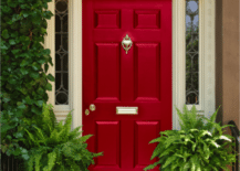Vibrant red door decorated with green potted plants  217x155 Creating a Charming Entryway with Red Front Doors
