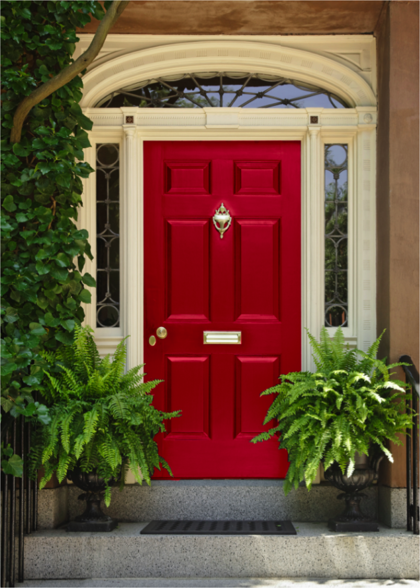 Vibrant red door decorated with green potted plants