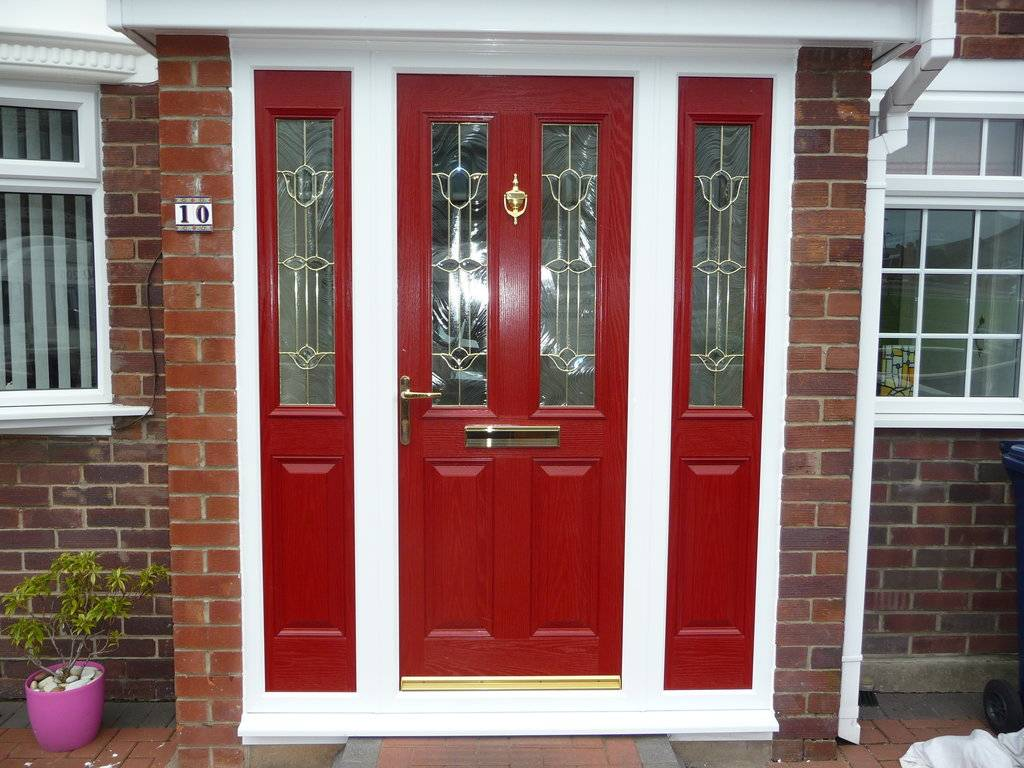 Creating a charming entryway with red front doors - Brick house front door ...