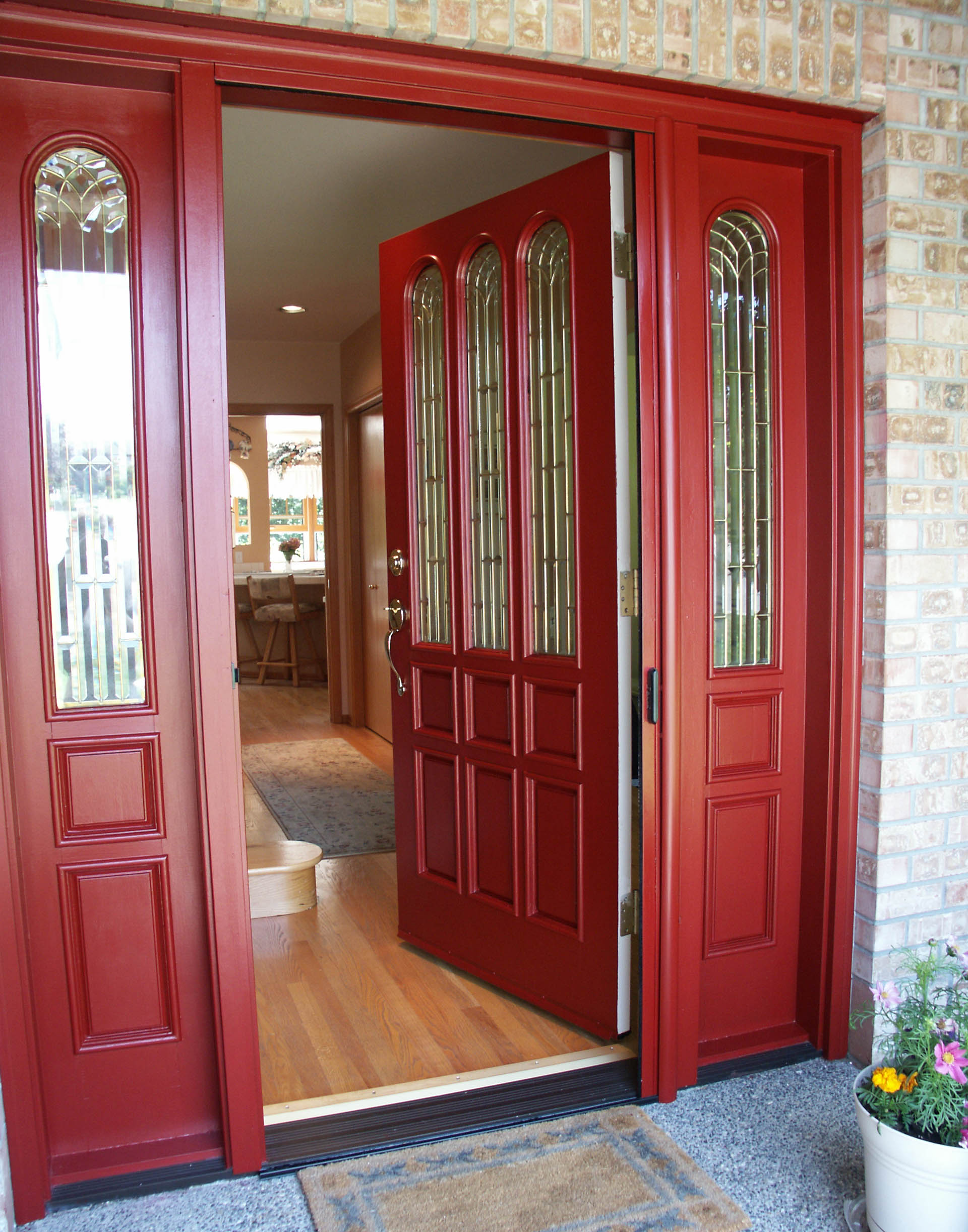 Creating a charming entryway with red front doors for Front door with opening window