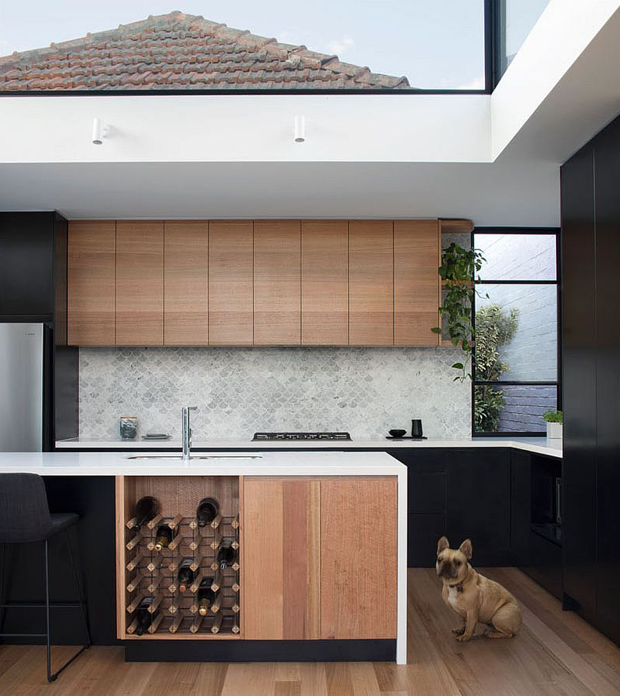 Wine storage combined with the kitchen island