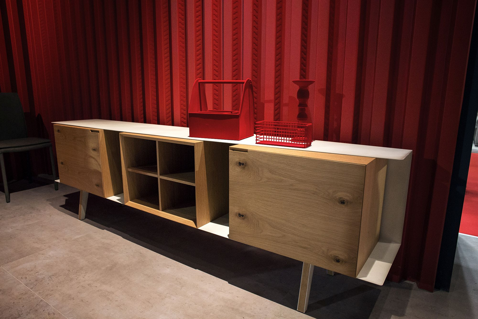 Wooden boxes used to create a cool sideboard