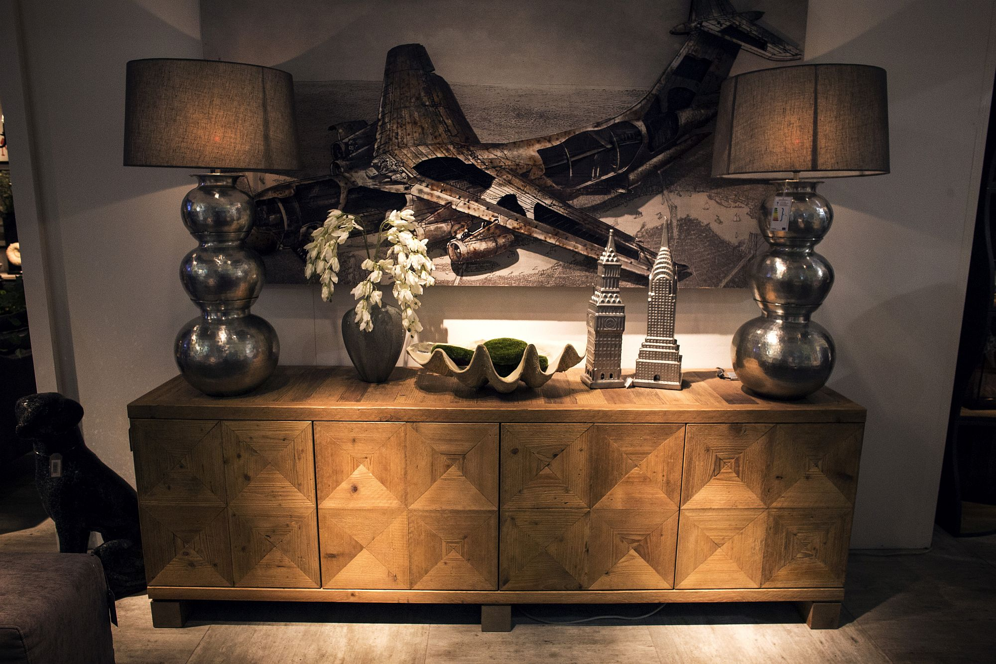Wooden sideboard also brings pattern to the interior
